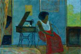 Girl and Sewing Machine by RAY CROOKE