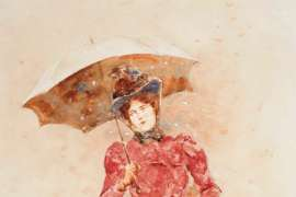Young Woman with an Umbrella by GIROLAMO NERLI