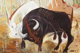 A Black Bull & White Horse by CLIFTON PUGH