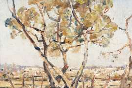 Trees and Rosebud Landscape by ARTHUR BOYD