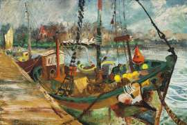 The Moored Shark Boat by JOHN PERCEVAL