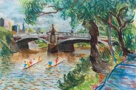 Princes Bridge, Yarra River by DONALD FRIEND
