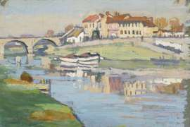 Cottages by a Bridge by ETHEL CARRICK FOX