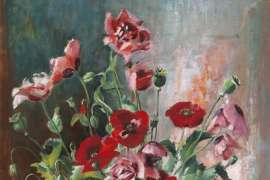 Untitled (Still Life with Poppies and Daisies) by MARGARET OLLEY