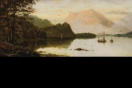 A Wooded Lake Landscape (also known as Lake Scene with Fishing Boats) by HAUGHTON FORREST