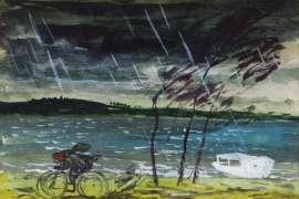 Bike Rider, Stormy Weather, Wangi by WILLIAM DOBELL
