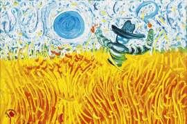 Sickle Farmer with Blue Moon by JOHN PERCEVAL