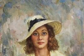 Portrait of a Woman with Hat by NORMAN LINDSAY