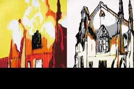 The Burning of St Barnabas by JASPER KNIGHT