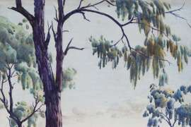 Landscape with Eucalypt Tree by ALBERT NAMATJIRA