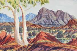 MacDonnell Range near Jay Creek by ALBERT NAMATJIRA