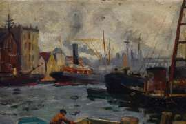 View of the Thames below Tower Bridge by DORA MEESON