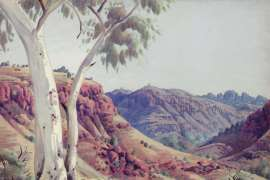 Gums in the Gorge (also known as West of Haasts Bluff (Mt Vickery in the Distance)) by ALBERT NAMATJIRA