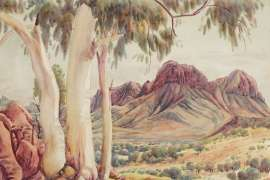 Near Corroboree Rock, Eastern Macdonnells by ALBERT NAMATJIRA