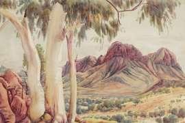 Near Corroboree Rock, Eastern Macdonnells by ALBERT NAMATJIRA