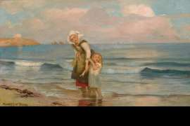 Mother and Child on the Beach by RUPERT BUNNY