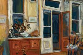 Night Interior with Woman Reading (David Strachan's House) by MARGARET OLLEY