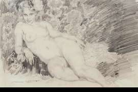 Study for Reclining Nude (also known as The Chaise Longue) by NORMAN LINDSAY
