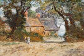 Cottage, Trees and Children by FREDERICK McCUBBIN