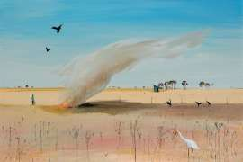 Wimmera Landscape with Fire and White Heron by ARTHUR BOYD