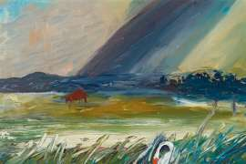 Suffolk Landscape with Storm and Swan by ARTHUR BOYD