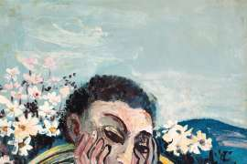 Man Thinking in Cane Chair with Flowers by JOHN PERCEVAL