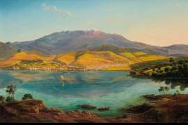 View of Hobart Town, with Mount Wellington in the Background by EUGENE VON GUÉRARD