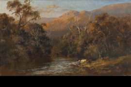 Cattle by the Stream, Early Evening by CHARLES ROLANDO