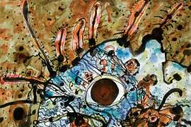 91. JOHN OLSEN Swimmer Surrounded by a Second Landscape EST: A$18,000 - A$24,000 image