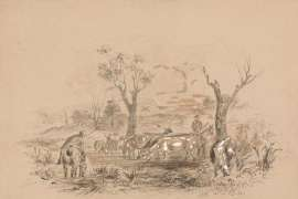 Lot 63. Thomas Balcombe Untitled (Pastoral Scene with Stockmen and Cattle) image