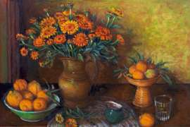 51. MARGARET OLLEY Calendulas and Bush Lemons c1985 image