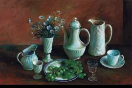 36. MARGARET OLLEY Untitled (Still Life with Daisies and Grapes) image