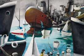27. CHARLES BLACKMAN Boats at Williamstown1956 image