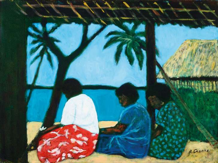 Island Women Near Hut by RAY CROOKE
