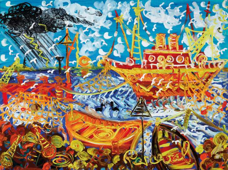 Fishermen and their Catch, Williamstown by JOHN PERCEVAL