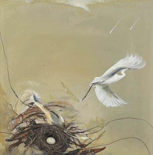 Untitled (Heron, Rain and Wind) by BRETT WHITELEY