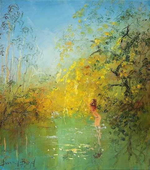 Bather Under the Wattle by DAVID BOYD