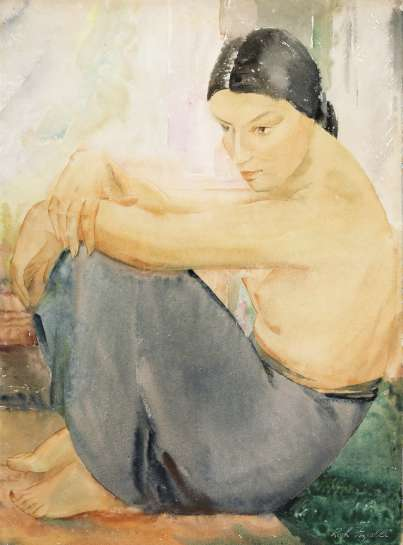 Untitled (Seated Female Figure in Skirt) by RAH FIZELLE