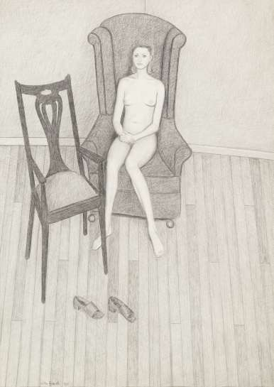 Nude on High Backed Chair by JOHN BRACK