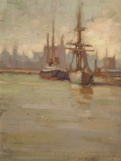 Ships and Skyline by ETHEL CARRICK FOX