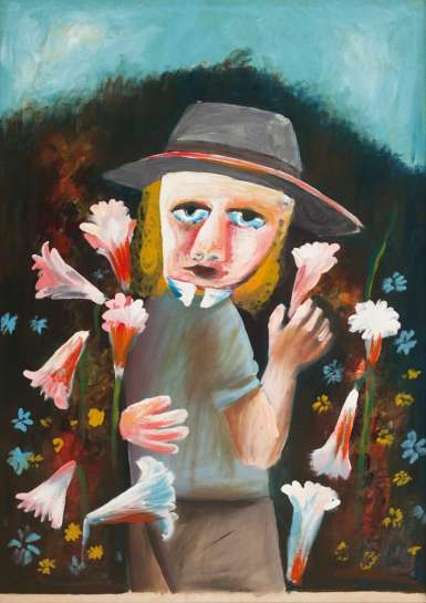 With Trumpet Lilies in her Hand by CHARLES BLACKMAN