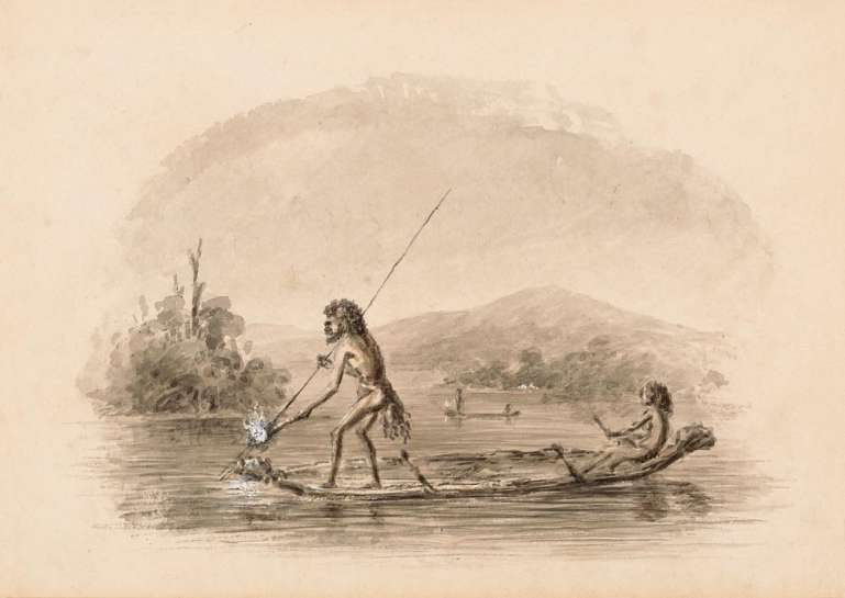 Untitled (Aborigines Fishing on a Lake) by THOMAS BALCOME