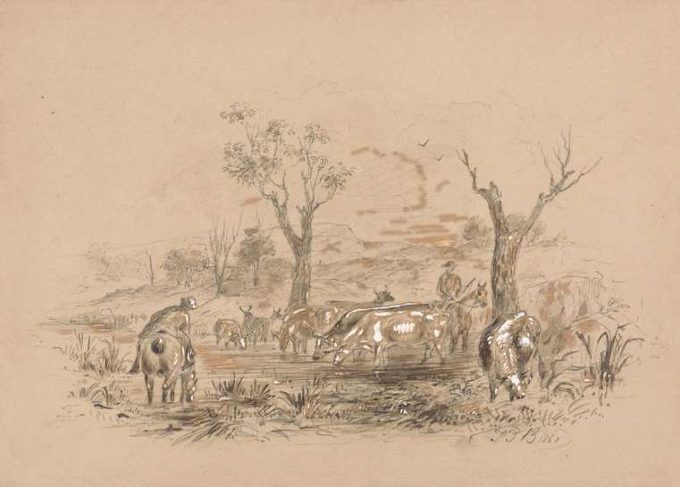 Untitled (Pastoral Scene with Stockmen and Cattle) by THOMAS BALCOME