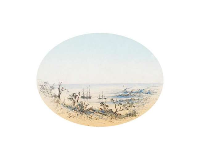 Untitled (Coastal Scene with Tall Ships) by THOMAS BALCOME