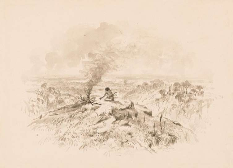 Untitled (Aborigine Tending Campfire) by THOMAS BALCOME