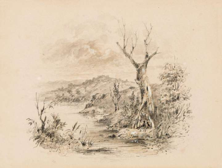 Untitled (Aboriginal Figure on Riverbank) by THOMAS BALCOME