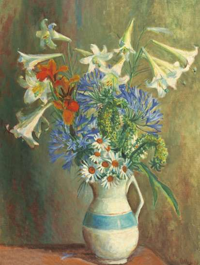 Still Life with Lilies and Agapanthus by MARGARET OLLEY