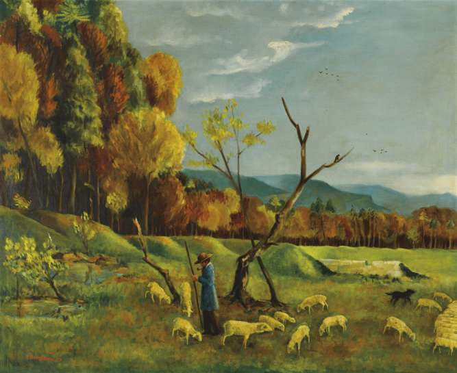 Landscape with a Shepherd and his Flock by SALI HERMAN