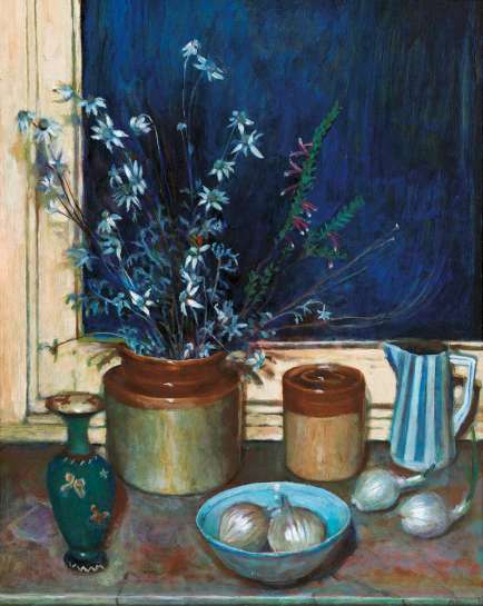 Still Life, Flannel Flowers and Onions by MARGARET OLLEY