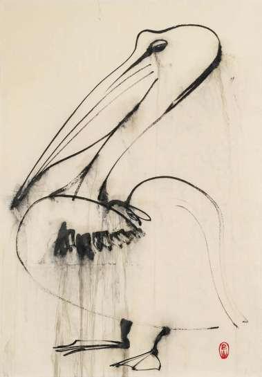 Pelican Dripping Water by BRETT WHITELEY
